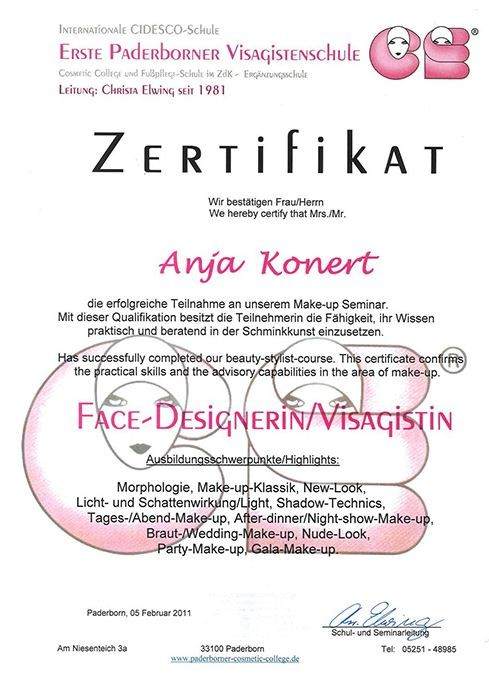 Face-Designerin/Visagistin